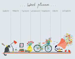 Weekly planner with cute design