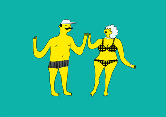 Funny stylized man and woman in swimsuit. Summer retro poster with cartoon couple. Vector illustration.
