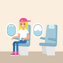 Cute teenage girl sitting on the plane / editable flat vector illustration