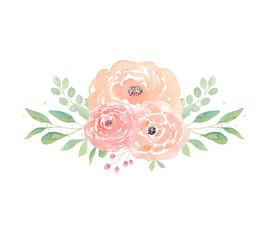Watercolor wedding flowers. Watercolor peonies and leaves. Floral arrangement. Wedding clipart