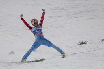 Kraft from Austria reacts after winning the first jumping of the 63rd four-hills ski jumping tournament in Oberstdorf