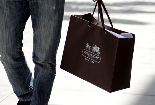 A shopping bag from the luxury brand Coach is seen along Rodeo Drive in Beverly Hills