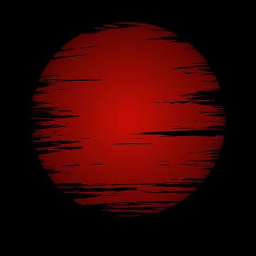 red moon in dark