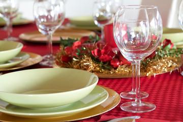 details of table setting for Christmas festivity