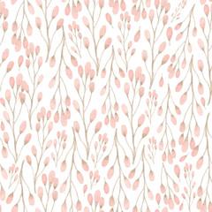 Akwarela bezszwowe wzór z kwiatów i gałęzi. Ślub tło. Tapetą z motywem kwiatowym - 152629729