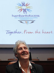 Louise Martin, head of a Commonwealth Games evaluation commission, smiles during a media conference in Colombo