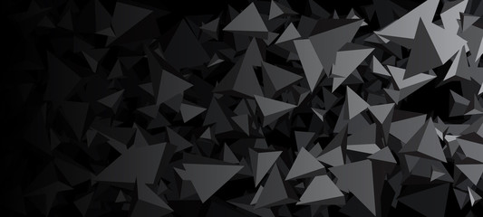 Banner with gray 3d triangles.
