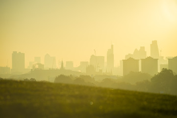 Golden sunrise skyline of London, England featuring modern skyscrapers peeking up above misty parkland trees