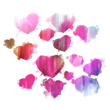 Watercolor hearts - Pink and purple hearts set - Watercolor hearts backdrop - Watercolor background