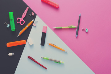 Top view of creative work space, stationery