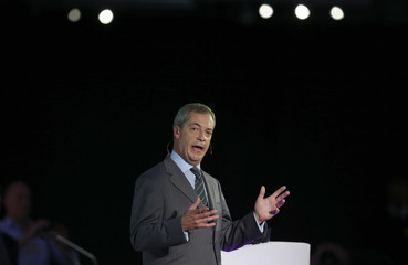 The leader of the United Kingdom Independence Party Nigel Farage delivers his speech at the party's annual conference at Doncaster Racecourse in Doncaster