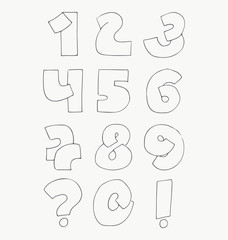 2d hand drawn numbers from 1 to 0 in simple rounded style. Decorative calligraphy digits, good for writing quotes and titles. Parts of elements overlap each other. Monochrome numeric collection.