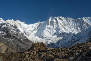 Annapurna I mountain peak in a morning, ABC, Pokhara, Nepal