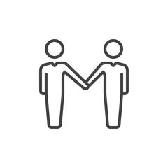 Handshake, partnership line icon, outline vector sign, linear style pictogram isolated on white. Symbol, logo illustration. Editable stroke. Pixel perfect