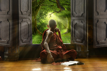 Buddhist novice in the convent looking out the window