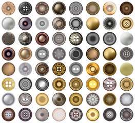 Realistic Accessories Metal Jeans Round Button or Rivets Set Web Design Element. Vector 3d illustration isolated on white. Mega collection of old vintage sewing buttons.