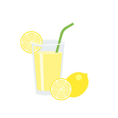 Lemon juice in glass with slice of lemon and green straw, flat design vector