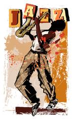 Printed roller blinds Art Studio saxophone player on grunge background