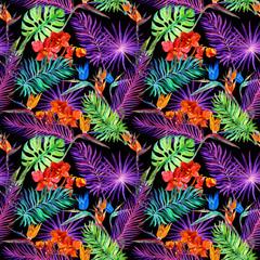 Tropical leaves, exotic flowers in neon glow. Repeating hawaiian pattern. Watercolor