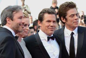 "Director Denis Villeneuve, cast members Emily Blunt, Josh Brolin, and Benicio Del Toro arrive for the screening of the film ""Sicario"" in competition at the 68th Cannes Film Festival in Cannes"