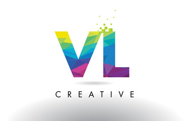 VL V L Colorful Letter Origami Triangles Design Vector.