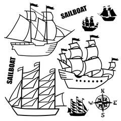 Set of simple sketch illustrations old sailboats, pirate ships with a sail