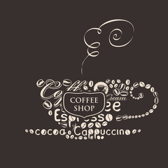 template vector banner for coffee shop with cup of coffee of the words and grains