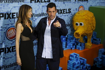 """Sandler and his wife Jackie attend the premiere of the movie """"Pixels"""" in New York"""
