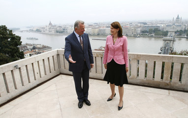 Hungarian President Schmitt talks to Finnish PM Kiviniemi before their meeting in Budapest