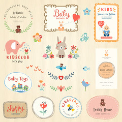 Kids labels and colorful promo signs. Logo collections for children.