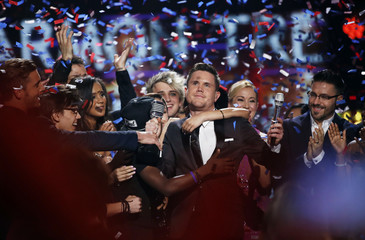 Trent Harmon is congratulated during the American Idol Grand Finale in Hollywood