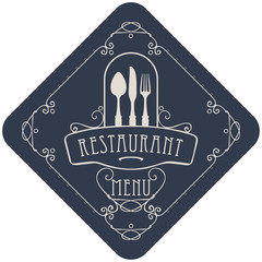 vector template menu for restaurant with Cutlery and curlicues in Baroque style on the dark background in the shape of a rhombus