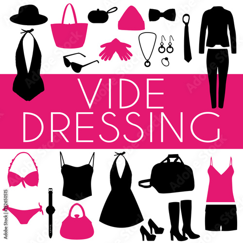 vide dressing illustration silhouettes de v tements la mode design rose blanc et noir. Black Bedroom Furniture Sets. Home Design Ideas
