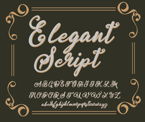 Calligraphy tattoo alphabet. English script lowercase, uppercase.Typeset lettering. Copy-book hand font. Calligraphic, sketch of ABC letters in old fashion vintage style.