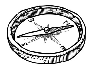 Cartoon image of Compass Icon. Architecture symbol. An artistic freehand picture.