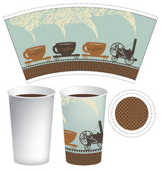 vector template paper cup for hot drink with an old steam locomotive in retro style