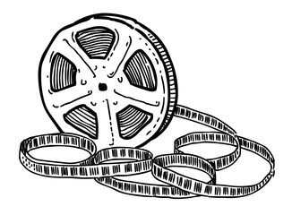 Cartoon image of Film reel. An artistic freehand picture.