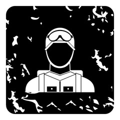 Paratrooper icon, grunge style