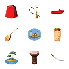 Tourism in Turkey icons set, cartoon style