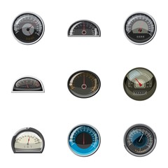 Speedometer for transport icons set, cartoon style