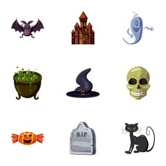 Halloween holiday icons set, cartoon style