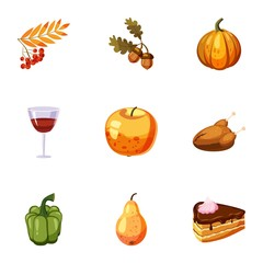 Thanksgiving day icons set, cartoon style