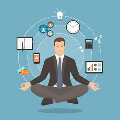 Businessman practicing meditation