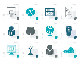 Stylized Basketball and sport icons - vector Icon Set