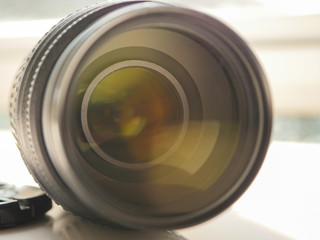 Close up on DSLR camera lens