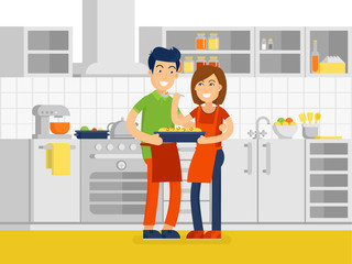 Young family spend time together in the kitchen vector illustration in flat design.