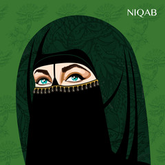 Varieties of traditional Muslim women's clothes - niqab. Look and rules of wearing Islamic clothing. Vector Illustration