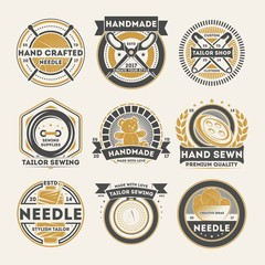 Tailor shop vintage isolated label set. Handmade studio badge, handcrafted needle logo, tailor sewing emblem, custom clothing atelier vector illustration symbol collection in monochrome style.