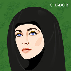 Varieties of traditional Muslim women's clothes -chador. Look and rules of wearing Islamic clothing. Vector Illustration