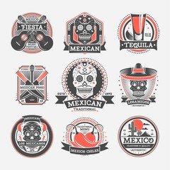 Mexican vintage isolated label set. Traditional authentic mexican food, drink, music and culture festival event emblem. Badge collection with skull, guitar, tequila, sombrero vector illustration.